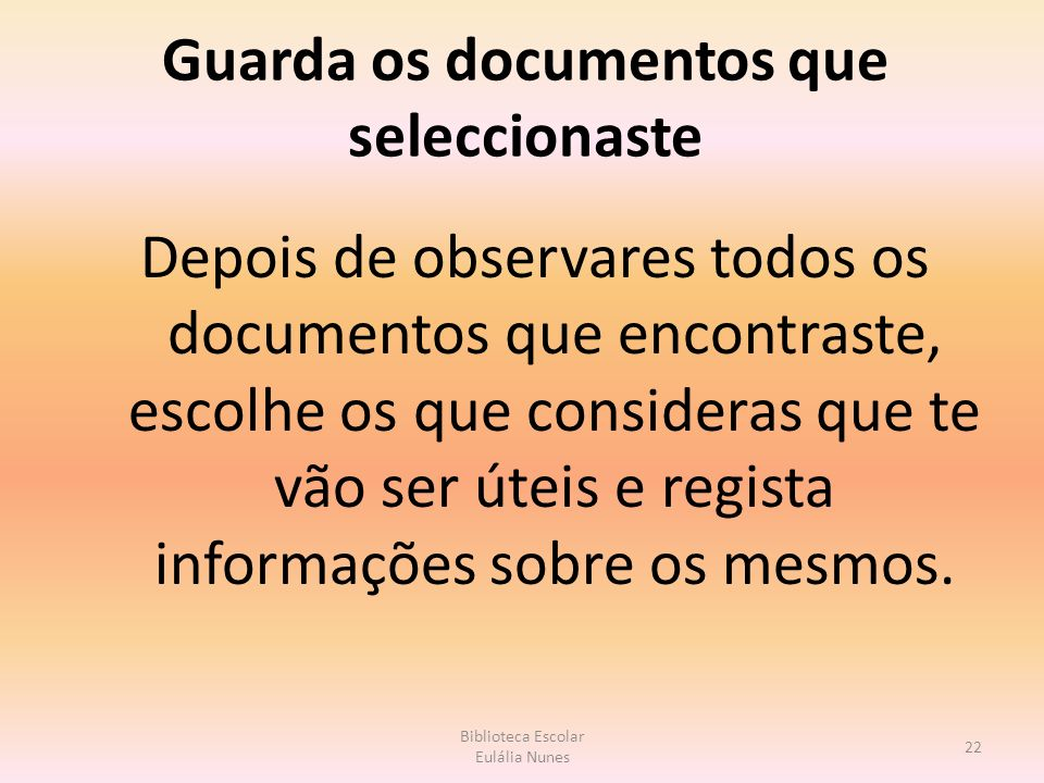 Guarda os documentos que seleccionaste