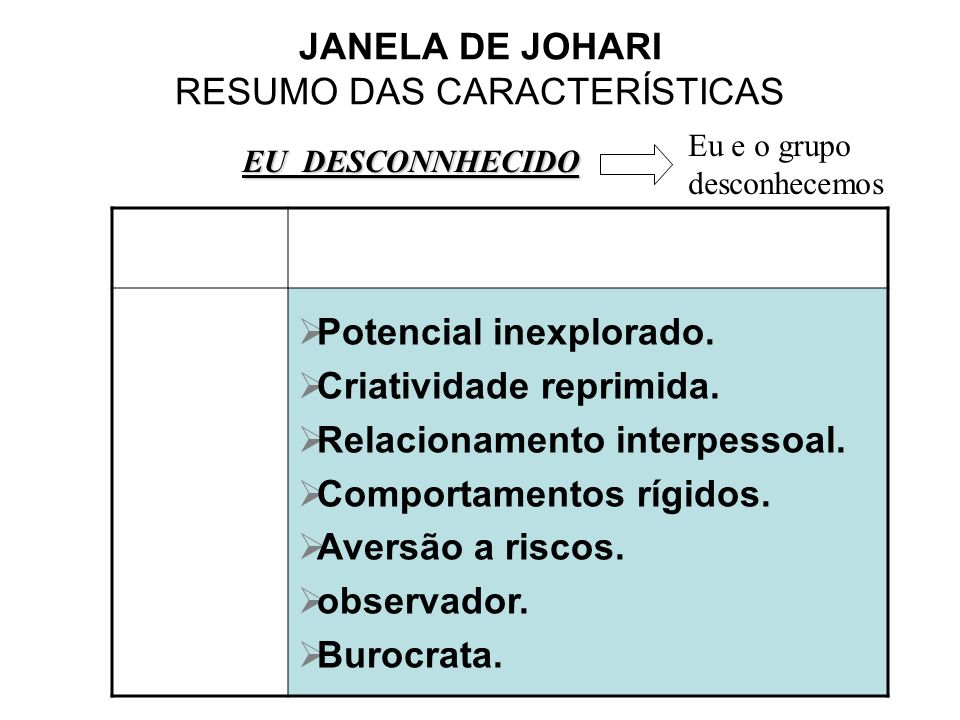 JANELA DE JOHARI RESUMO DAS CARACTERÍSTICAS