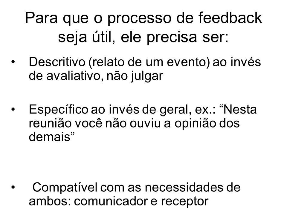 Para que o processo de feedback seja útil, ele precisa ser: