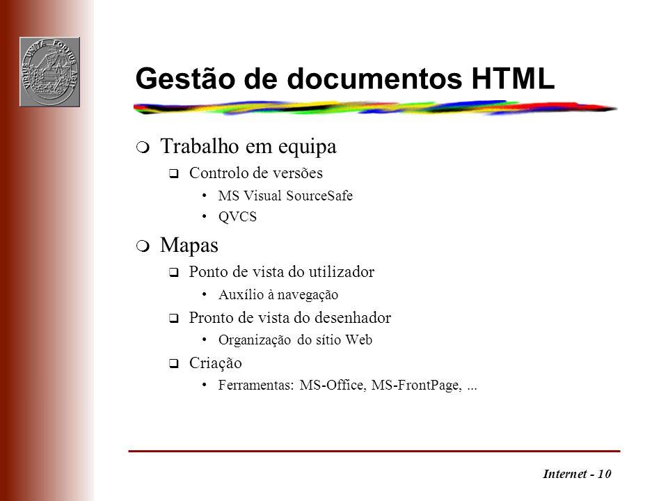 Gestão de documentos HTML