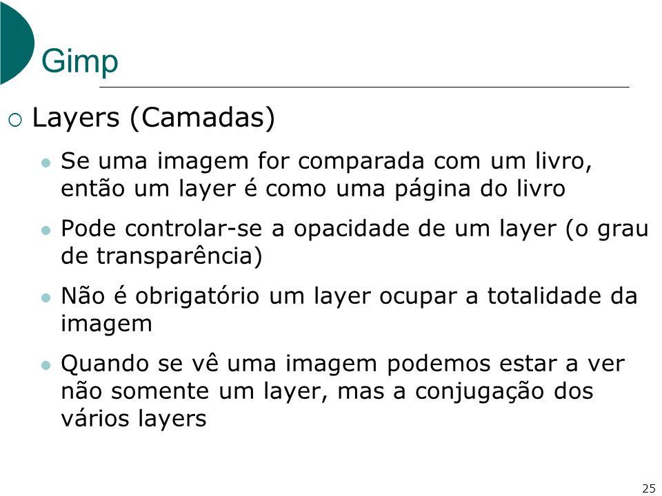 Gimp Layers (Camadas) Se uma imagem for comparada com um livro, então um layer é como uma página do livro.