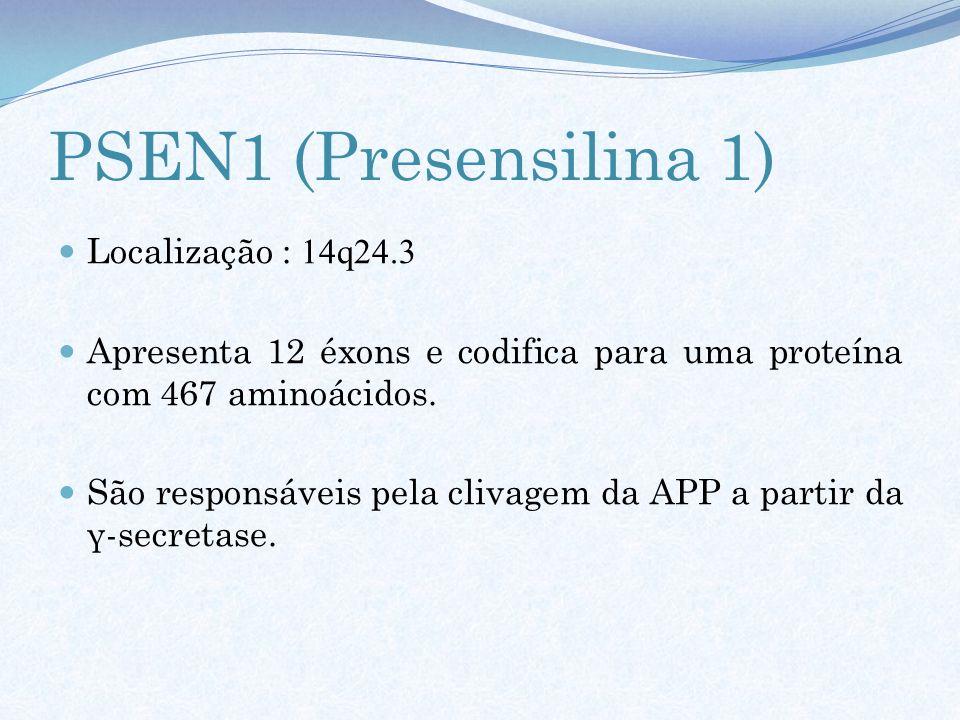 PSEN1 (Presensilina 1) Localização : 14q24.3