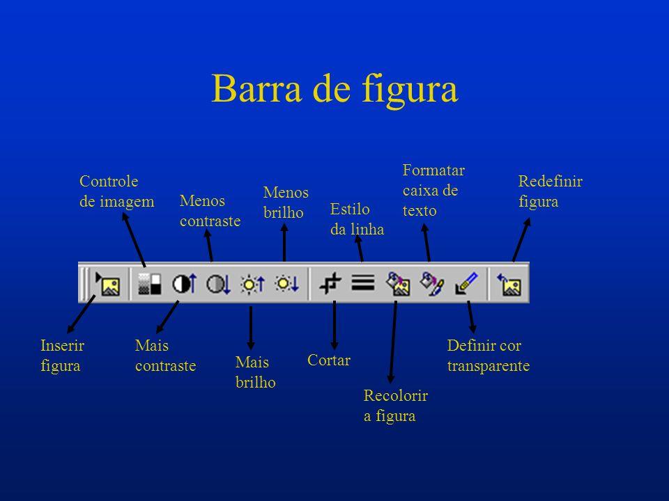 Barra de figura Formatar caixa de texto Controle de imagem Redefinir