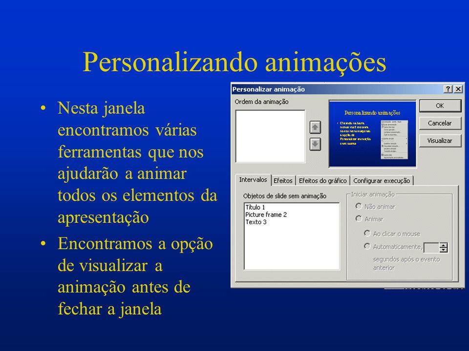 Personalizando animações