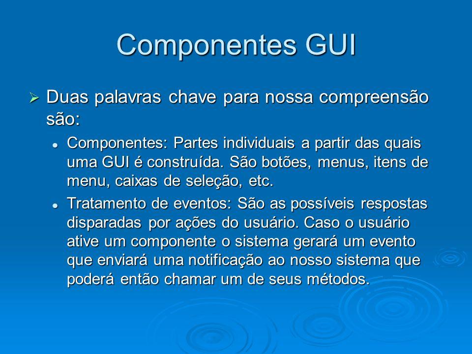 Componentes GUI Duas palavras chave para nossa compreensão são: