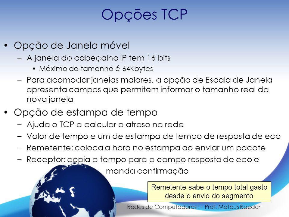 Opções TCP Opção de Janela móvel Opção de estampa de tempo
