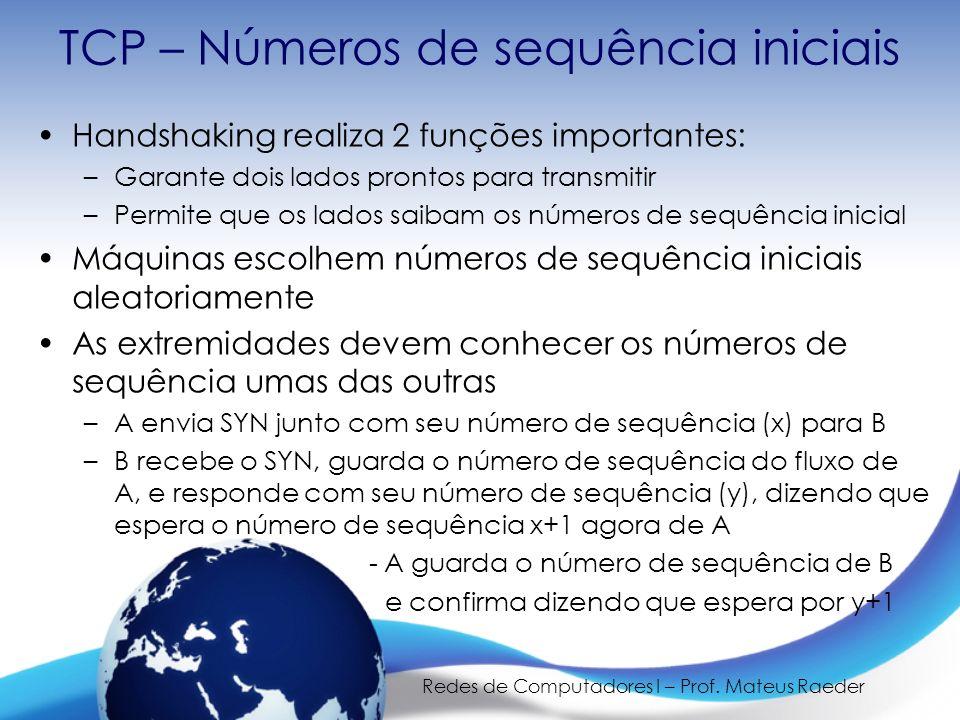 TCP – Números de sequência iniciais