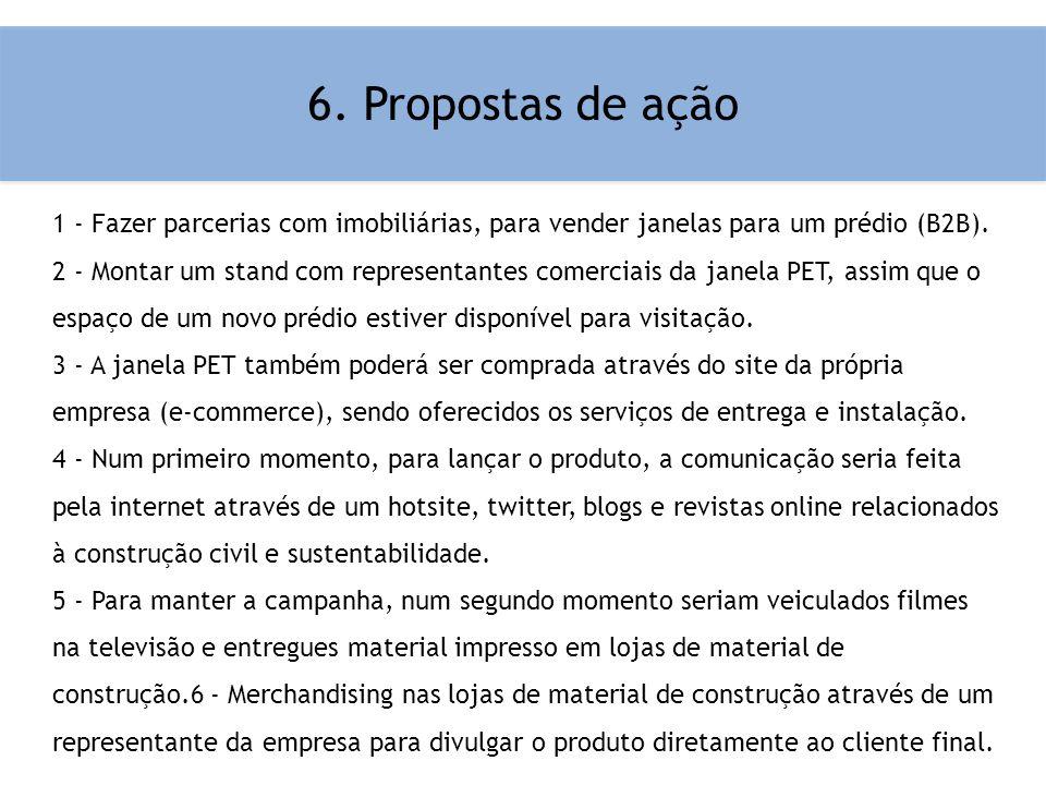 6. Propostas de ação 1 - Fazer parcerias com imobiliárias, para vender janelas para um prédio (B2B).