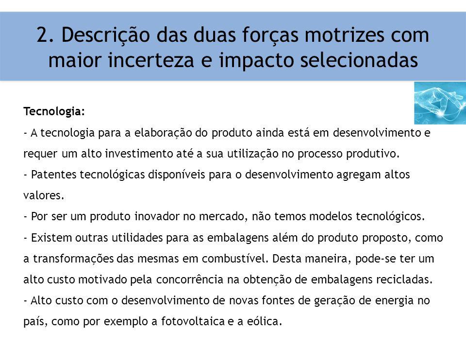 2. Descrição das duas forças motrizes com maior incerteza e impacto selecionadas