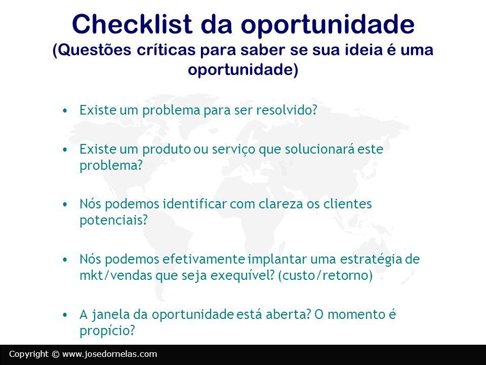 Checklist da oportunidade (Questões críticas para saber se sua ideia é uma oportunidade)