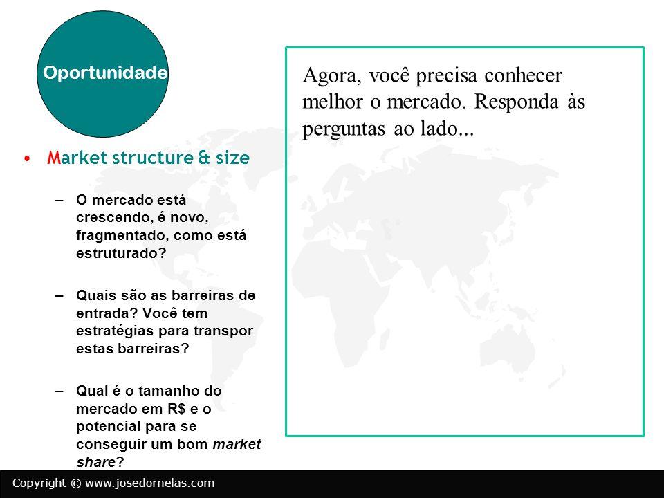 Oportunidade Agora, você precisa conhecer melhor o mercado. Responda às perguntas ao lado... Market structure & size.