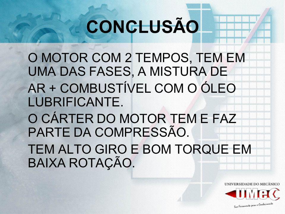 CONCLUSÃO O MOTOR COM 2 TEMPOS, TEM EM UMA DAS FASES, A MISTURA DE