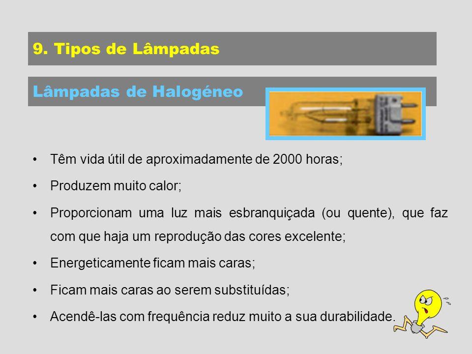 9. Tipos de Lâmpadas Lâmpadas de Halogéneo