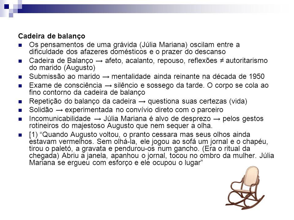 Cadeira de balanço Os pensamentos de uma grávida (Júlia Mariana) oscilam entre a dificuldade dos afazeres domésticos e o prazer do descanso.