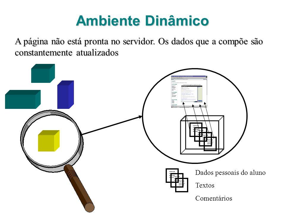 Ambiente Dinâmico A página não está pronta no servidor. Os dados que a compõe são constantemente atualizados.
