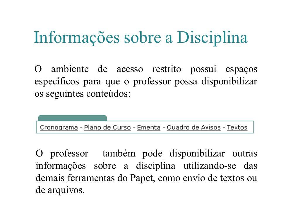 Informações sobre a Disciplina