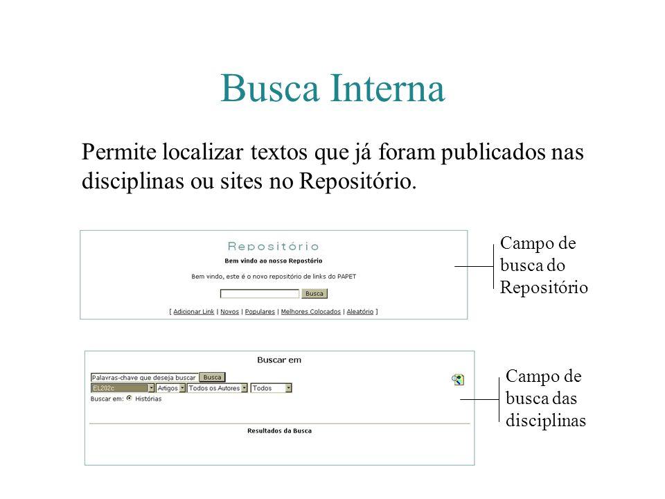 Busca Interna Permite localizar textos que já foram publicados nas disciplinas ou sites no Repositório.
