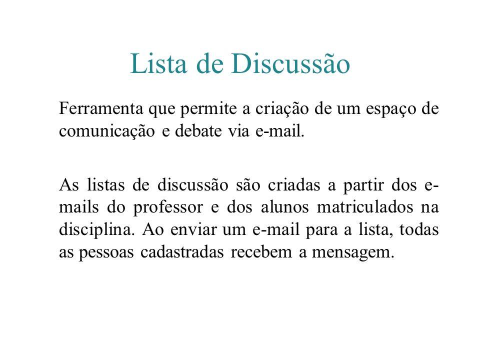 Lista de Discussão Ferramenta que permite a criação de um espaço de comunicação e debate via e-mail.