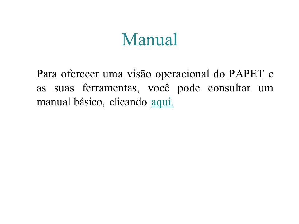 Manual Para oferecer uma visão operacional do PAPET e as suas ferramentas, você pode consultar um manual básico, clicando aqui.