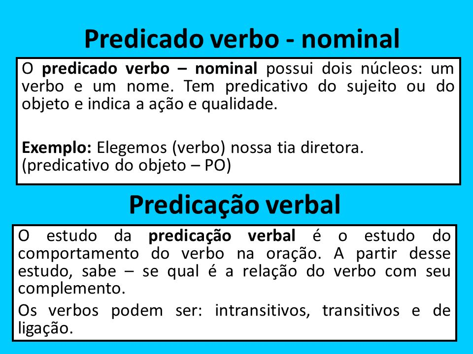 Predicado verbo - nominal