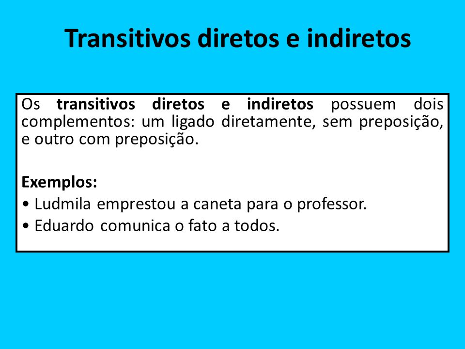 Transitivos diretos e indiretos