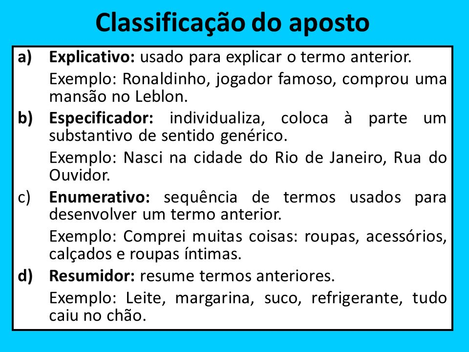 Classificação do aposto
