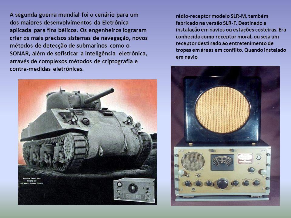 A segunda guerra mundial foi o cenário para um dos maiores desenvolvimentos da Eletrônica aplicada para fins bélicos. Os engenheiros lograram criar os mais precisos sistemas de navegação, novos métodos de detecção de submarinos como o SONAR, além de sofisticar a inteligência eletrônica, através de complexos métodos de criptografia e contra-medidas eletrônicas.