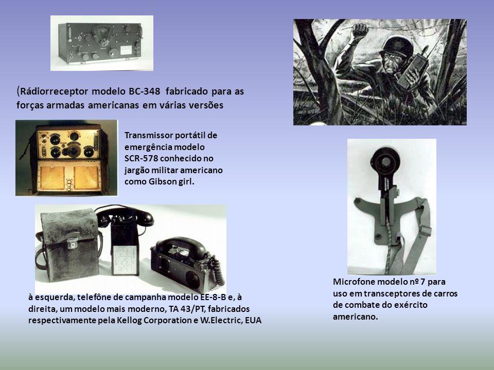 (Rádiorreceptor modelo BC-348 fabricado para as forças armadas americanas em várias versões