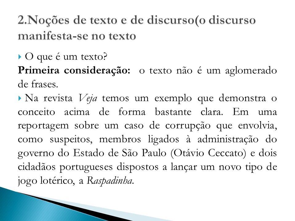 2.Noções de texto e de discurso(o discurso manifesta-se no texto
