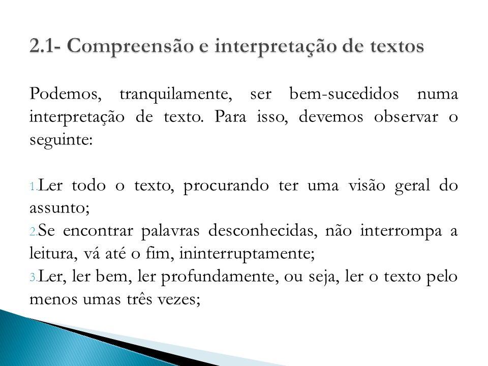 2.1- Compreensão e interpretação de textos