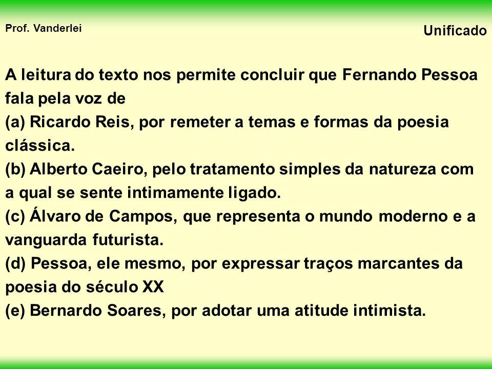 A leitura do texto nos permite concluir que Fernando Pessoa fala pela voz de
