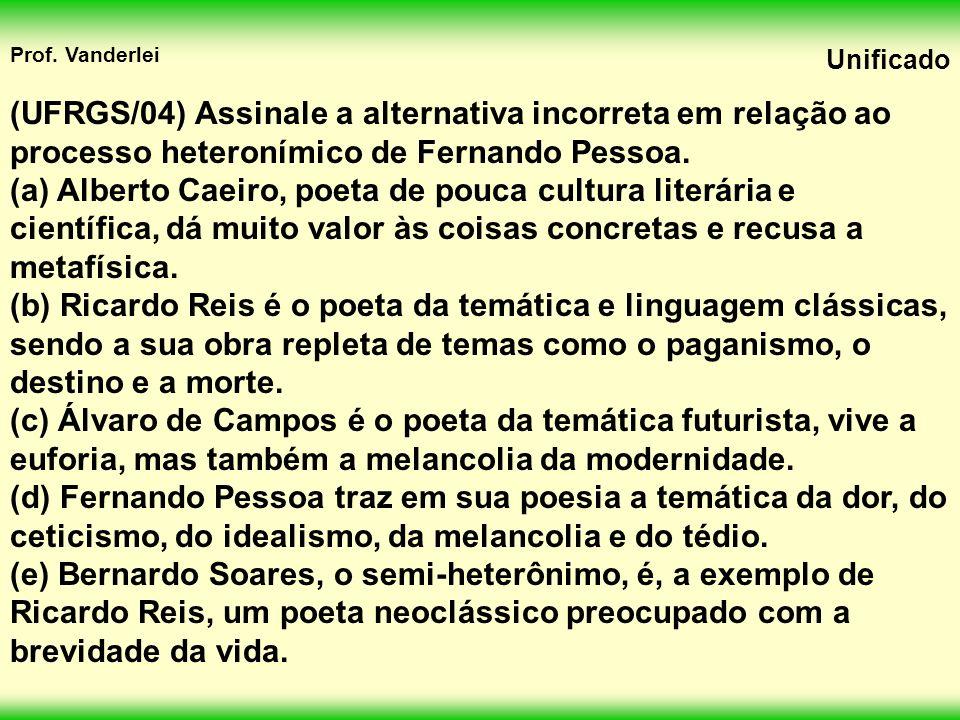 (UFRGS/04) Assinale a alternativa incorreta em relação ao processo heteronímico de Fernando Pessoa.