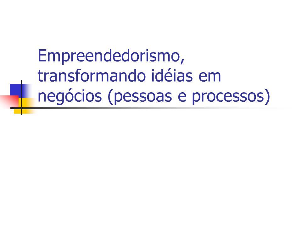 Empreendedorismo, transformando idéias em negócios (pessoas e processos)