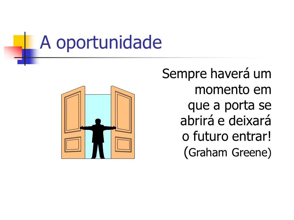 A oportunidade Sempre haverá um momento em que a porta se abrirá e deixará o futuro entrar.