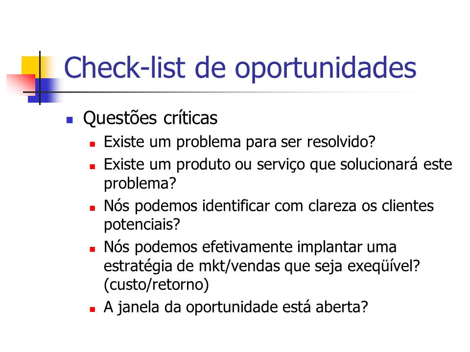 Check-list de oportunidades