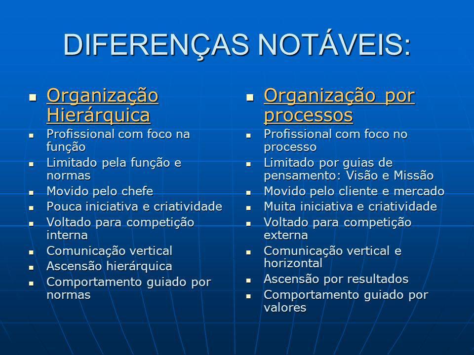 DIFERENÇAS NOTÁVEIS: Organização Hierárquica Organização por processos
