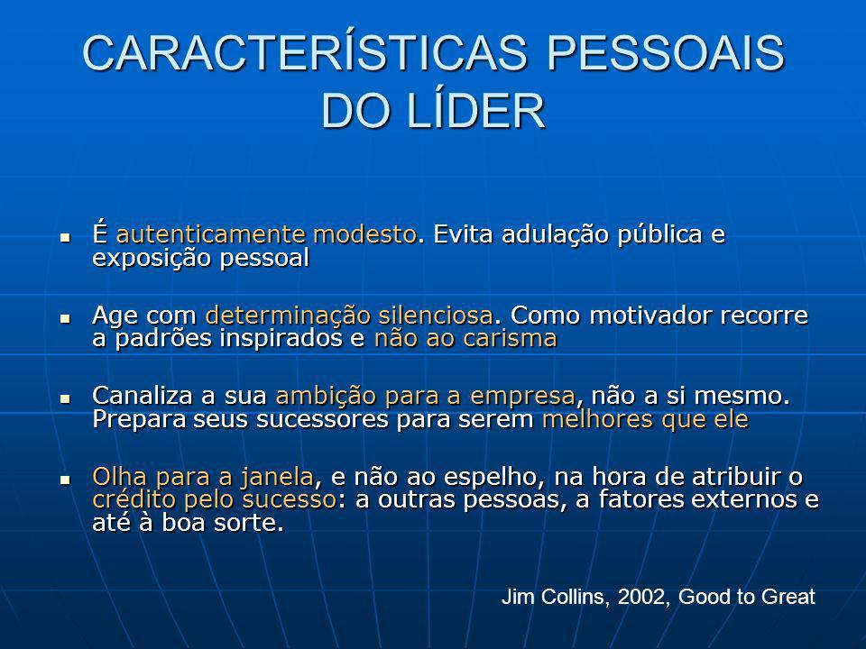 CARACTERÍSTICAS PESSOAIS DO LÍDER