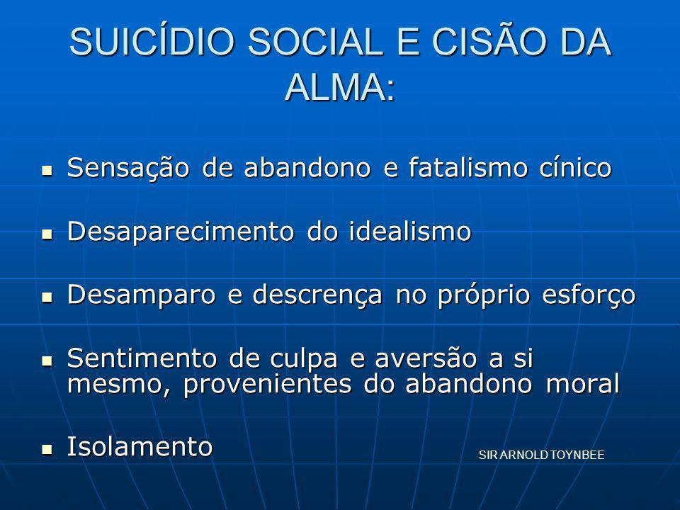SUICÍDIO SOCIAL E CISÃO DA ALMA: