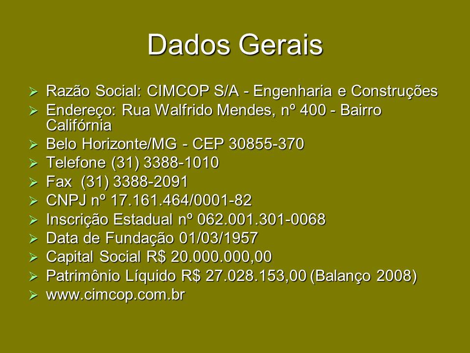 Dados Gerais Razão Social: CIMCOP S/A - Engenharia e Construções