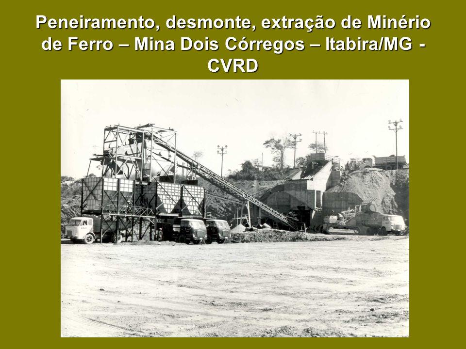 Peneiramento, desmonte, extração de Minério de Ferro – Mina Dois Córregos – Itabira/MG - CVRD
