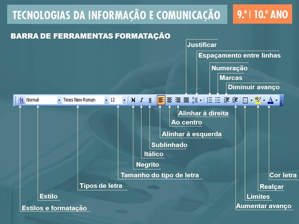 BARRA DE FERRAMENTAS FORMATAÇÃO