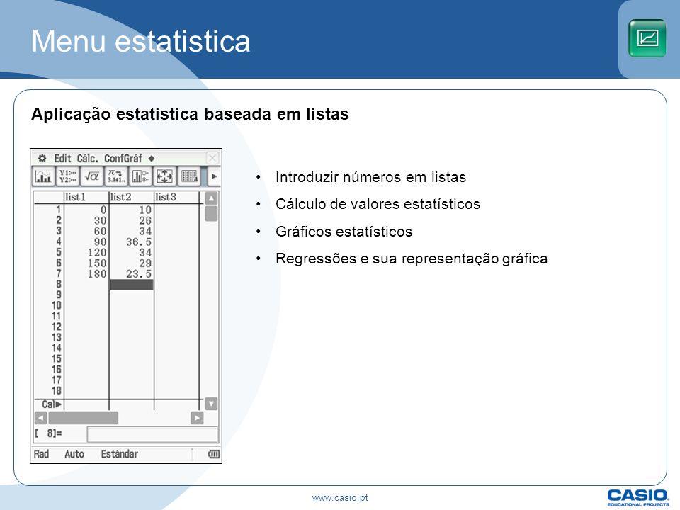 Menu estatistica Aplicação estatistica baseada em listas