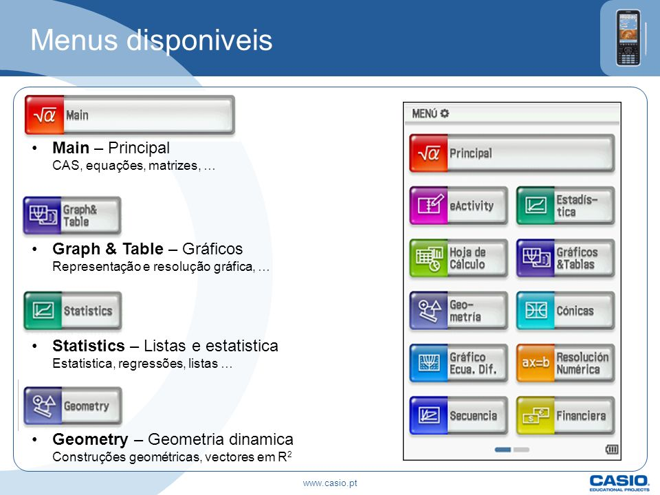 Menus disponiveis Main – Principal CAS, equações, matrizes, …