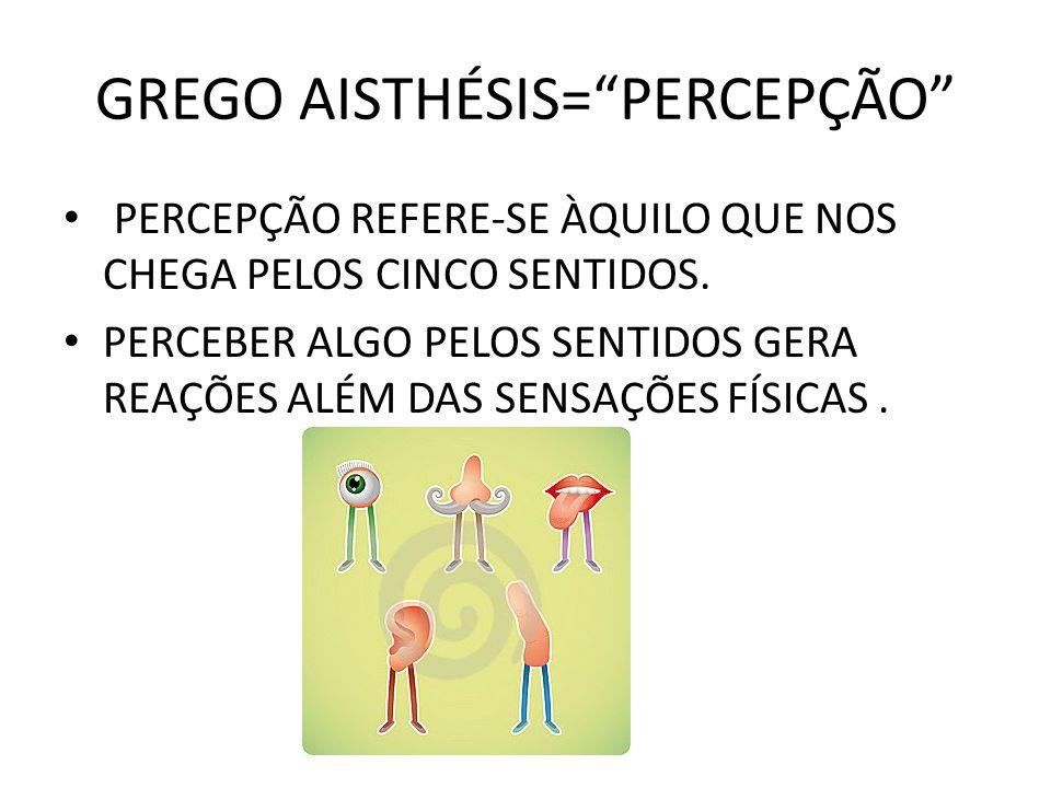 GREGO AISTHÉSIS= PERCEPÇÃO