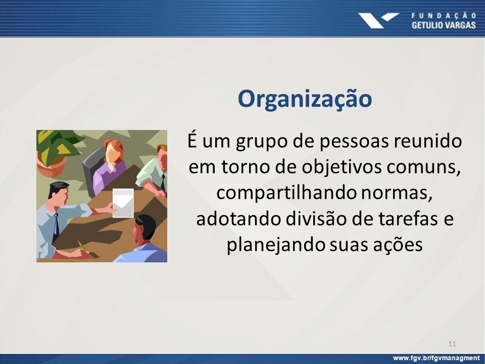Organização É um grupo de pessoas reunido em torno de objetivos comuns, compartilhando normas, adotando divisão de tarefas e planejando suas ações.
