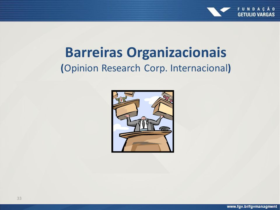 Barreiras Organizacionais (Opinion Research Corp. Internacional)