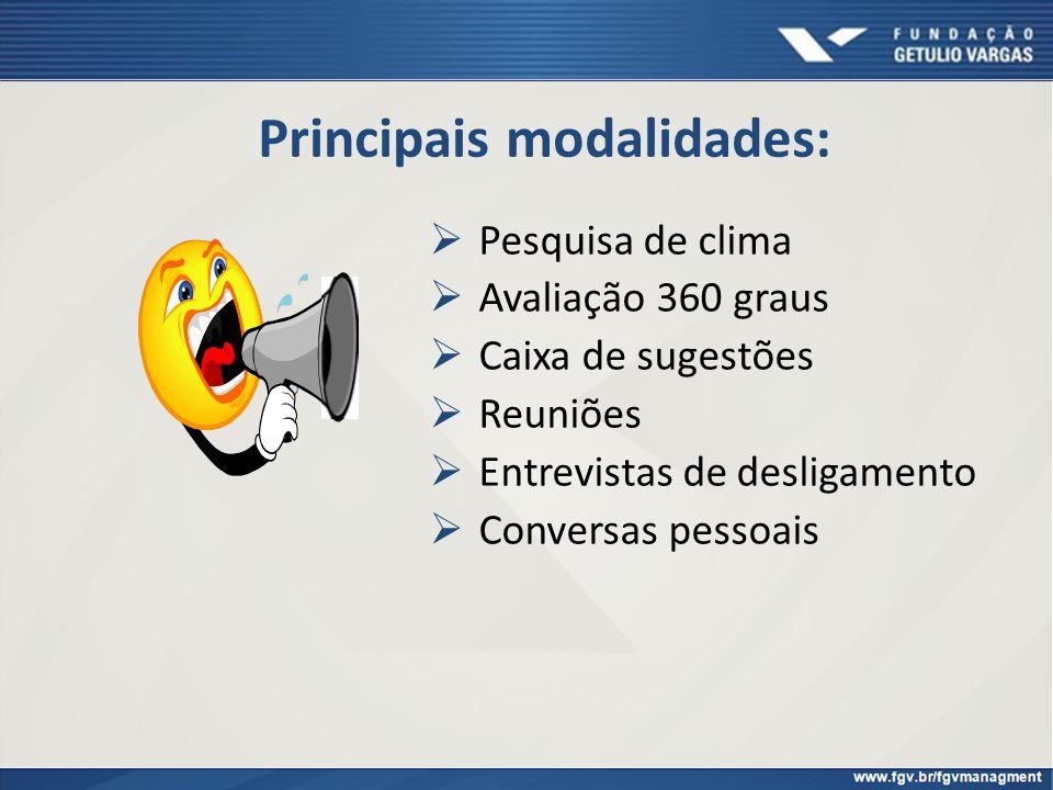 Principais modalidades: