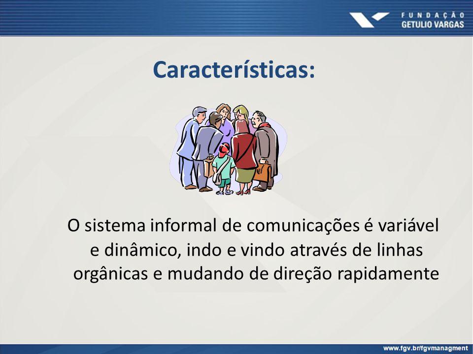 Características: O sistema informal de comunicações é variável e dinâmico, indo e vindo através de linhas orgânicas e mudando de direção rapidamente.