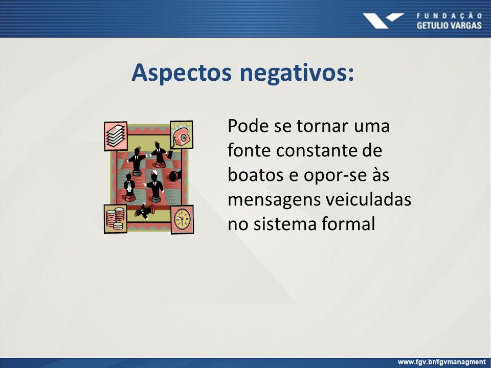 Aspectos negativos: Pode se tornar uma fonte constante de boatos e opor-se às mensagens veiculadas no sistema formal.