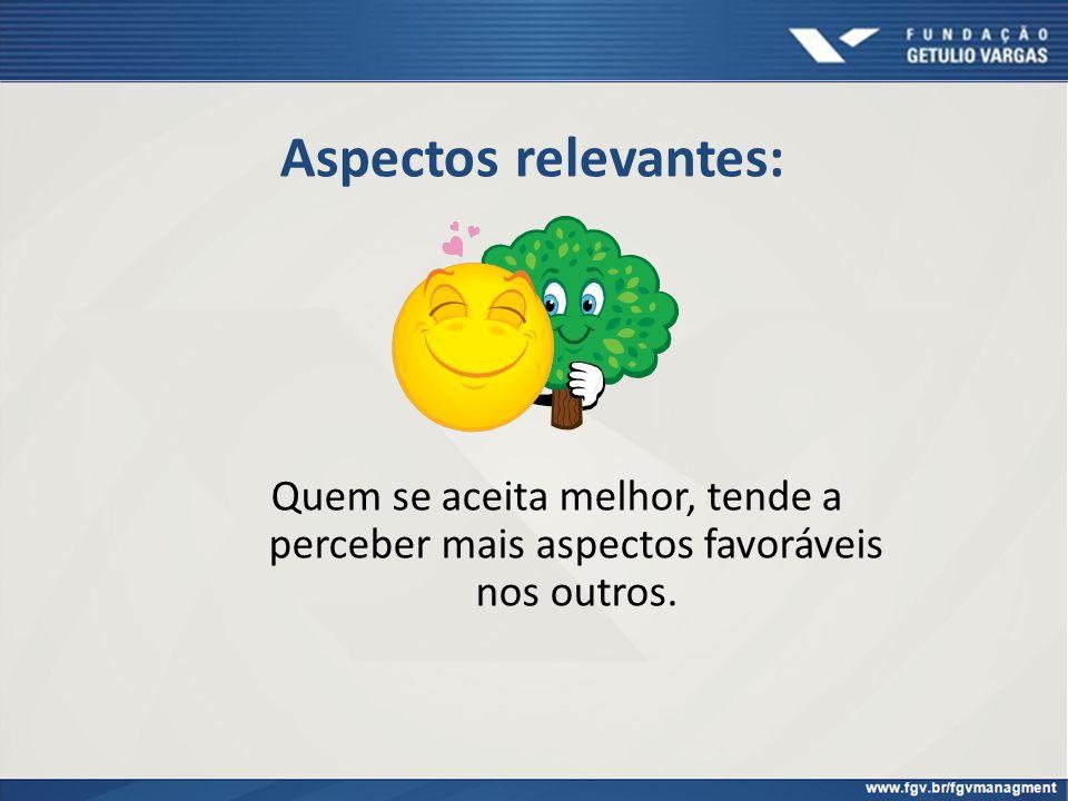 Aspectos relevantes: Quem se aceita melhor, tende a perceber mais aspectos favoráveis nos outros.